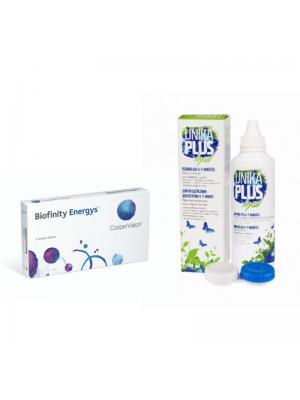 Biofinity Energys 3 tk + Unika Plus Hyal 100 ml koos konteineriga